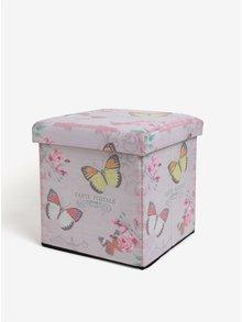 Ružový skladací taburet Dakls