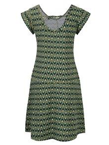 Kaki vzorované šaty s mašľou na chrbte Tranquillo Asimina