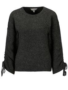 Tmavosivý melírovaný sveter s riasením na rukávoch Dorothy Perkins Petite