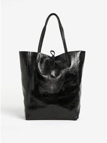 Geanta shopper neagra din piele lacuita ZOOT Laminato