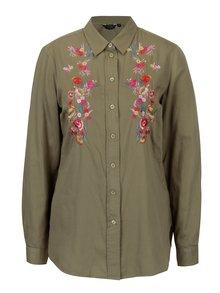 Zelená košeľa s kvetovanou výšivkou Dorothy Perkins