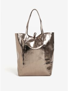 Geanta bronz shopper din piele naturala ZOOT Glitter