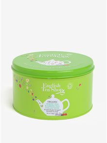 Zelená darčeková plechovka zeleného a bieleho čaju English Tea Shop