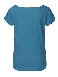 Tyrkysové tričko s řasením v dekoltu Tranquillo Hedera