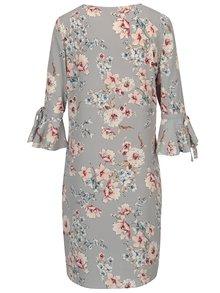 Šedé květované šaty se zvonovými rukávy Dorothy Perkins Petite