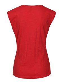 Červené tričko s prekladaným výstrihom Tranquillo Musa