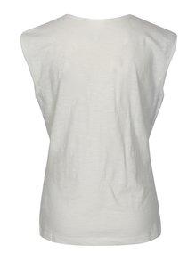 Krémové tričko s prekladaným výstrihom Tranquillo Musa