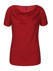 Červené vzorované tričko s nazberkaním v dekolte Tranquillo Vitisa