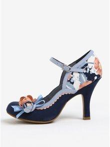 Pantofi decupati bleumarin cu print si aplicatii florale -  Ruby Shoo Silvia