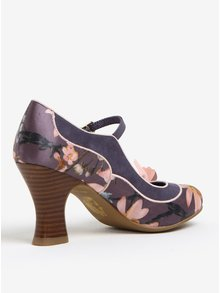 Pantofi decupati cu bareta toc si aplicatii florale - Ruby Shoo Madelaine