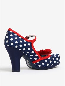 Tmavě modré puntíkovaně lodičky s červenými detaily Ruby Shoo Hannah