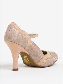 Pantofi roz cu bareta si model din dantela - Ruby Shoo Imogen
