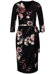 Čierne vzorované zavinovacie šaty Dorothy Perkins
