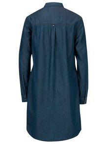 Rochie-camasa din denim bleumarin cu buzunare Cross Jeans