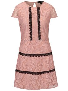Světle růžové krajkové šaty Dorothy Perkins