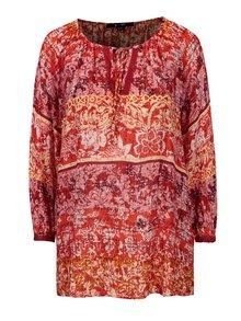 Bluza rosie cu print floral si maneci 3/4 - YEST