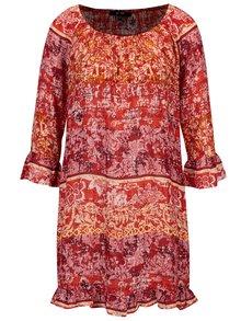 Rochie rosie cu print floral si volane - YEST