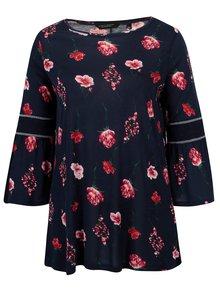 Tmavomodré kvetované tričko Dorothy Perkins Curve