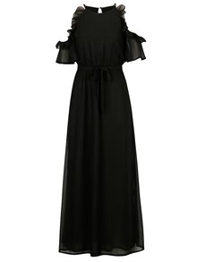 Rochie cold shoulder neagra cu volane si cordon in talie - Mela London