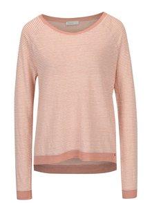 Krémovo-ružové ľanové tričko s dlhým rukávom Yesre