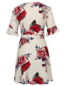 Biele kvetované zavinovacie šaty so zvonovými rukávmi Mela London