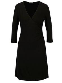 Čierne šaty s prekladaným výstrihom Yerse