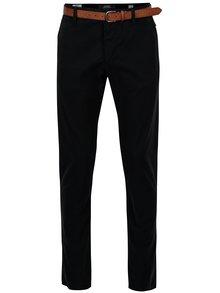 Tmavě modré pánské slim fit chino kalhoty s páskem s.Oliver