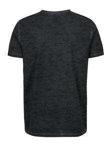 Tricou slim fit gri inchis cu print geometric pentru barbati -  s.Oliver