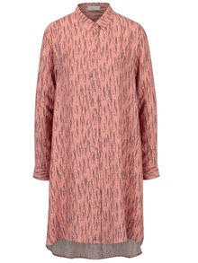 Koralové vzorované košeľové šaty Yesre