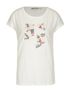 Krémové dámské tričko s flitry Garcia Jeans