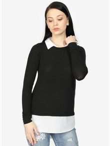 Krémovo-čierny sveter so všitým košeľovým dielom Haily´s Linda