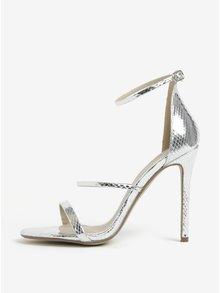 Sandále na vysokom podpätku v striebornej farbe MISSGUIDED 65ef451fd2c