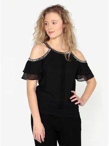 Bluza cold shoulder neagra cu aplicatii metalice Oasis Cami