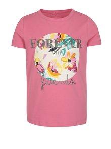 Ružové dievčenské tričko s ligotavým nápisom name it Ivalaiane
