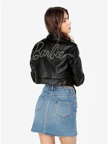 Jacheta crop neagra din piele sintetica cu tinte  - MISSGUIDED Barbie