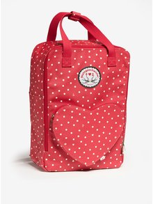 Rucsac / geanta rosie cu buzunar inima si print - Blutsgeschwister