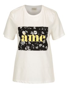 Tricou crem cu print - Selected Femme Marny