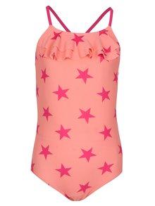 Ružové dievčenské vzorované jednodielne plavky name it Zu Jingle