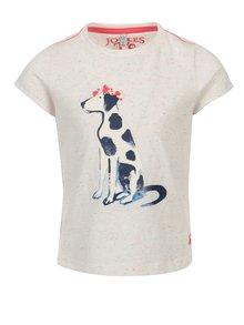 Krémové dievčenské melírované tričko s potlačou dalmatínca Tom Joule