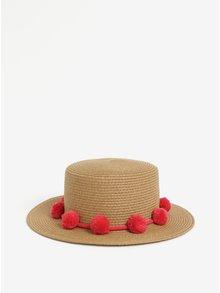 Béžový klobúk s brmbolcami Pieces Isa