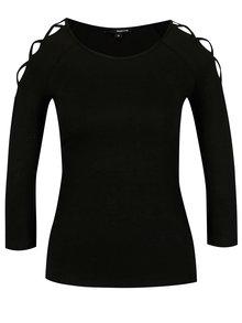 Čierne tričko s pásikmi na ramenách TALLY WEiJL