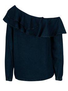 Bluza asimetrica bleumarin cu volane si decolteu pe un umar - ONLY Dreamy
