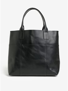Černý kožený shopper Pieces Irene