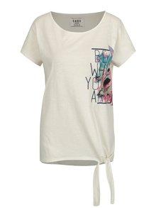 Krémové dámské tričko se zavazováním na uzel Cars Picture