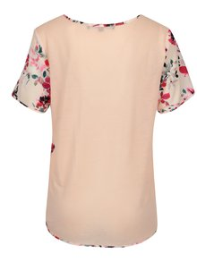 Bluza asimetrica roz deschis cu print floral French Connection Linosa