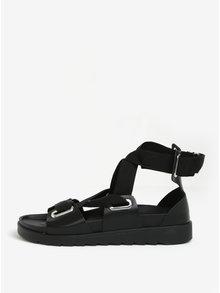 Černé kožené sandály Pieces Mariella