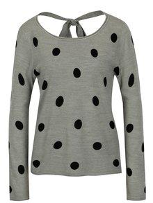 Sivý bodkovaný sveter s mašľou na chrbte Jacqueline de Yong Alice
