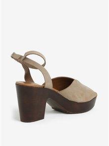 Hnědo-béžové semišové dřeváky na podpatku Pieces Mika
