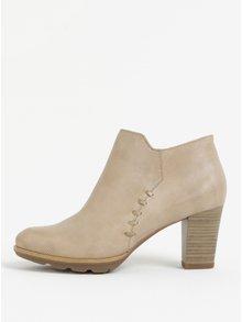 Svetlohnedé členkové topánky na podpätku Tamaris