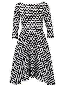 Čierno-biele áčkové vzorované šaty s 3/4 rukávom miestni Bla